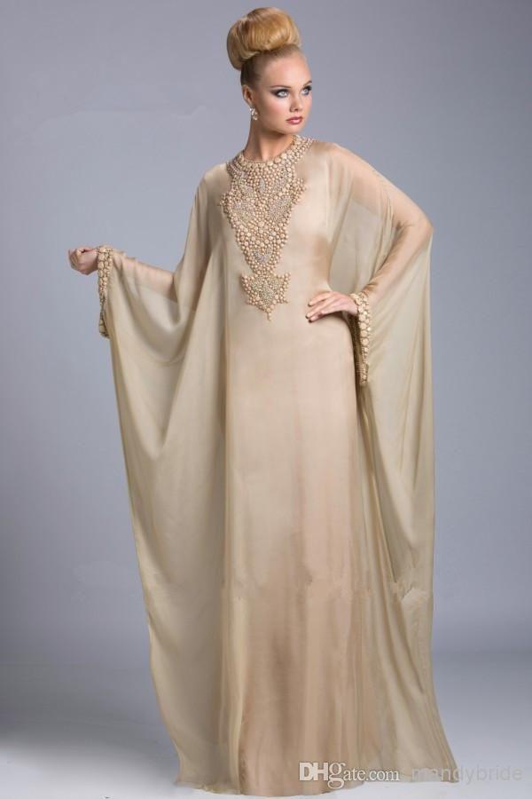 Estilo Árabe Vestidos De Noche Encargo Musulmán De Manga Larga Vestido Maxi  De La Celebridad Vestidos
