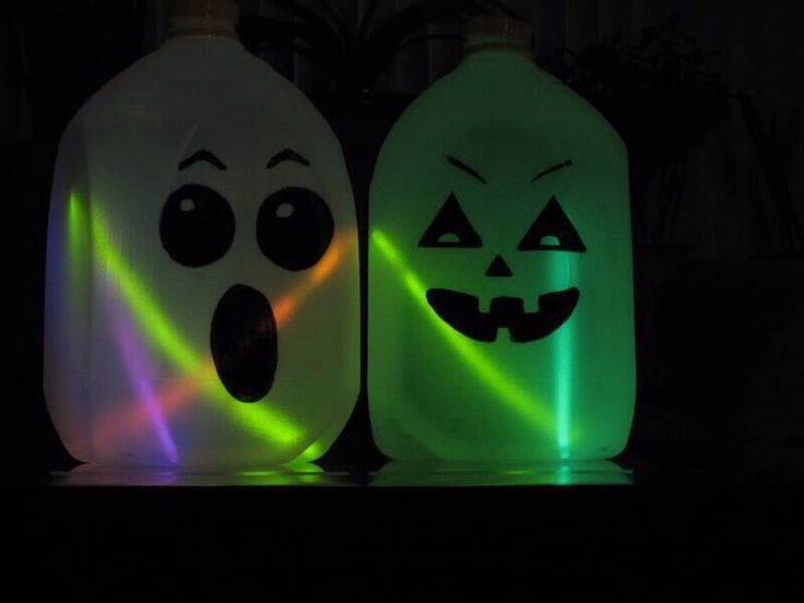 decorate empty and clean milk jug with jack o lantern face place a few glow sticks in the jug and youre done you could also use orange christmas lights