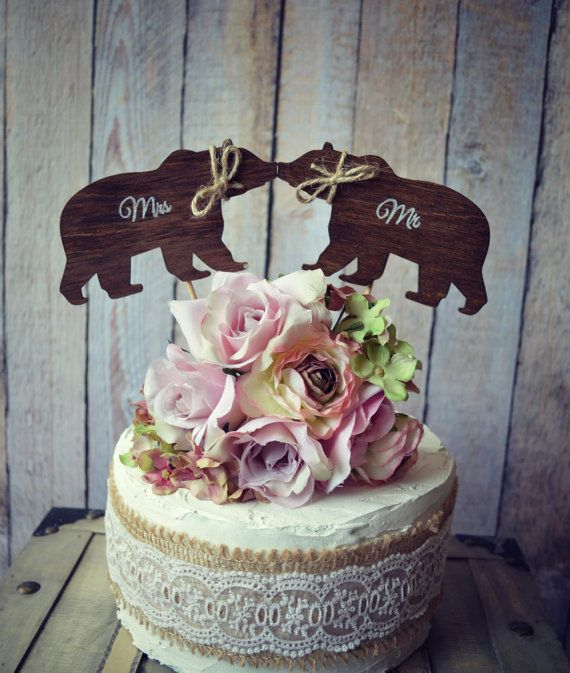 Bear-black bear-brown bear-wedding-rustic-cake topper-bride-groom-Mr and Mrs-custom-hunting-hunter-Alaska-wood-on sticks