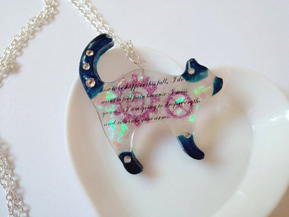 Resin Necklace Resin Pendant Resin Charm Cat by LittleWoolShop, $15.00