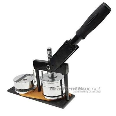 Alat Pembuat Pin Rotary untuk mencetak pin (badge) model rel putar (rotary). Dilengkapi 2 moulding pin bentuk bulat ukuran 44 dan 58 mm.