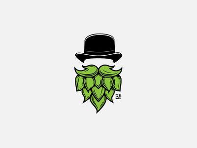 Hop Head Logo cabeza con sombrero y barba verde