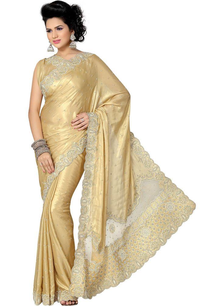 Gold Satin Saree
