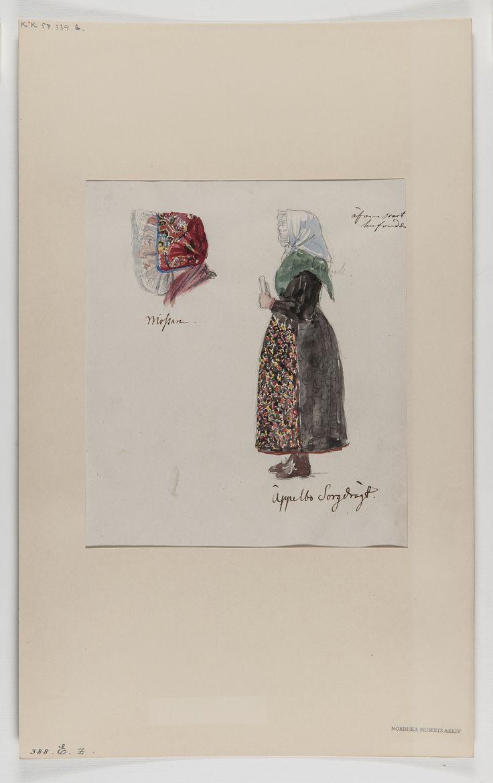 """Akvarellerad handteckning av J W Wallander. Kvinnodräkt från Äppelbo, Dalarna. Text: """"Äppelbo. Sorgdräkt"""". Nordiska museets…"""