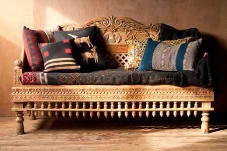Ornately Carved Wooden Indian Love Seat, $975