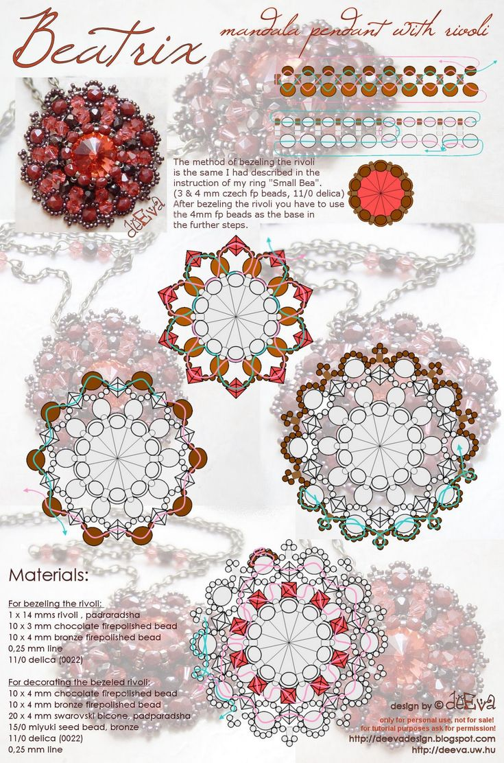 Beatrix (pendant) free bead weaving tutorial #pendant #medallion #rivoli #bezel