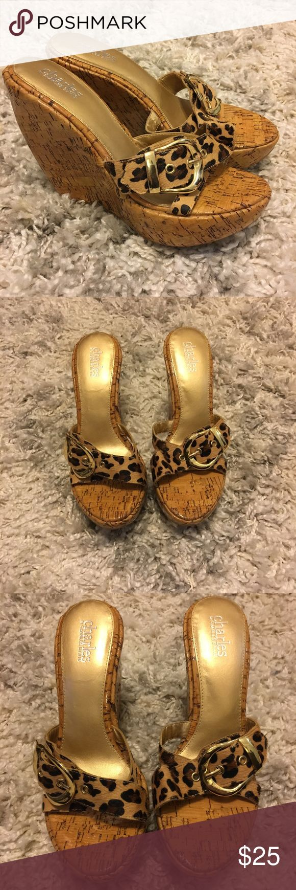 Charles David animal print platform mule. Size 8 Charles David animal print with gold buckle. Size 8. Excellent like new condition. Charles David Shoes Mules & Clogs