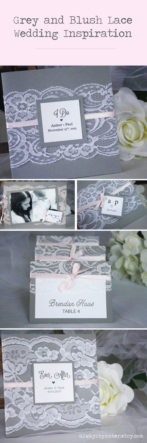 lace wedding invitation wrap%0A Grey and Blush Lace Wedding Invitations  Lace Wedding Invitations  Vintage u