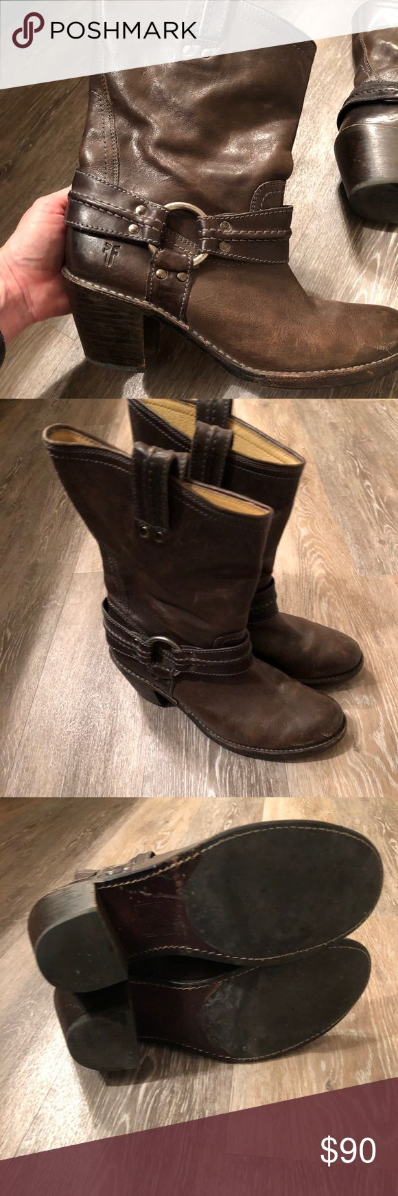 Frye Harness boots Brown sometimes green looking color! Super cute boots!!! A few scuffs on the right shoe Frye Shoes Heeled Boots