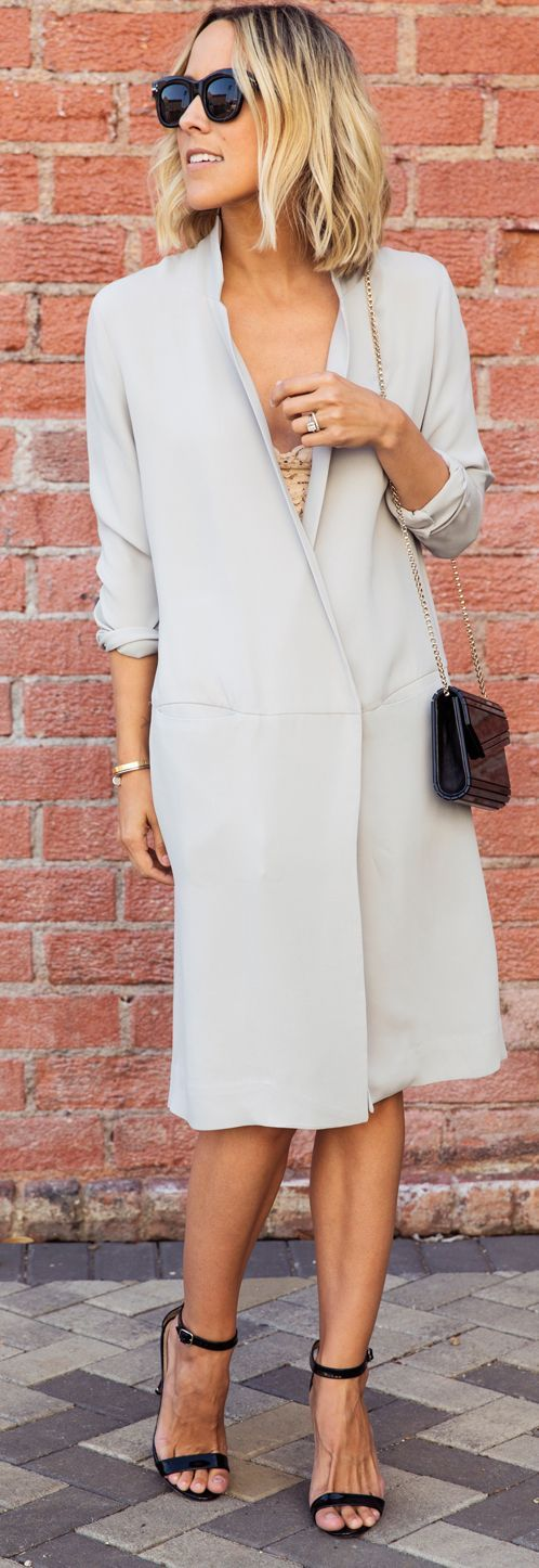 Light Grey Long Silk Jacket by Damsel In Dior