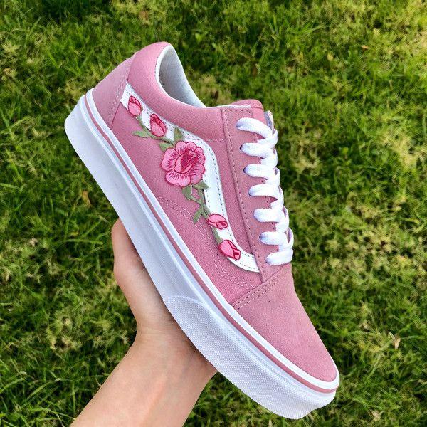 a7c7e9c72019 Custom Rose Applique Vans Vans Roses Womens Sneakers Embroidered... (320  BRL)
