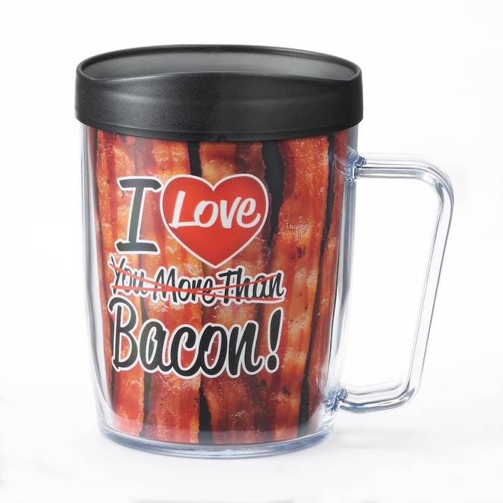 "Signature Tumblers Sport Signature Tumblers Monday Coffee ""I Love You More Than Bacon"" 18-oz. Insulated Coffee Mug -Bacon lovers unite! This fun Signature Tumblers coffee mug makes enjoying your favorite beverage more fun. Bacon print with witty text. #ad #bacon #mug #insulated #myredshoestories"