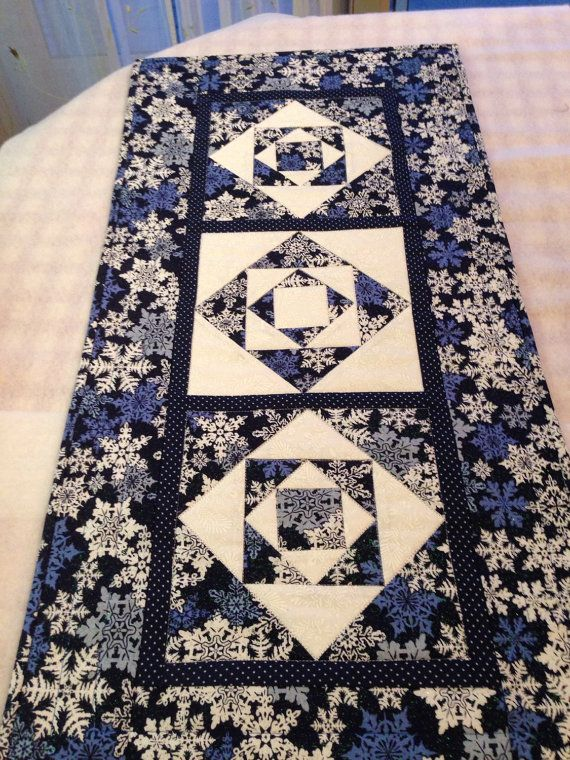 Blue Christmas Snowflake Quilted Table Runner by NeedleLove2