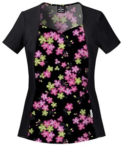 """Baby Phat Women's Mock Wrap Print Scrub Top in """"Kei Flora"""" 26846C-KIMF    This comfortable and stylish top features soft, stretchy knit at the side panels and sleeves.  The sweetheart neckline, back elastic and contrast side panels offer a slimming effect. Two hidden inseam pockets finish this innovative top. Center back length 26"""".  $24.50  #scrubs #scrubcouture #nurses #babyphat"""