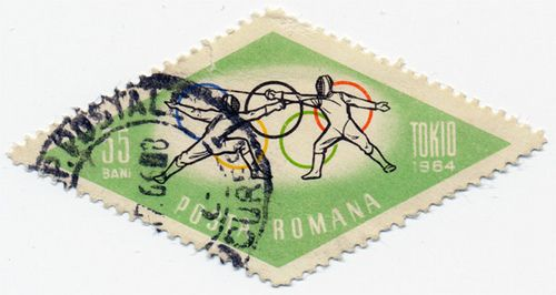 Romanian Stamp - Tokyo Olympics 1964 - Fencing   by alexjacque
