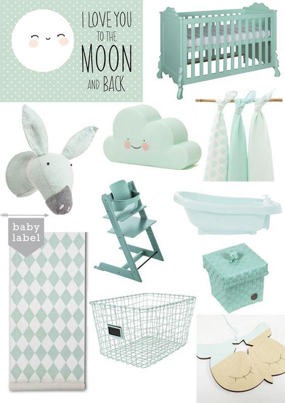mintgroen op de babykamer