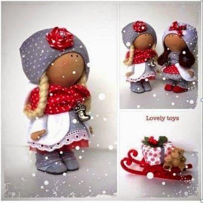 Интерьерные куклы Кузнецовой Евгении: Миниатюрная кукла большеножка. 2 варианта выкройки.