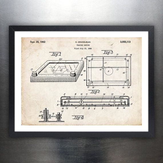 Buy ETCH A SKETCH Drawing Toy 1962 Patent Art Print Poster Gift Etch-A-Sketch Ohio Art - various sizes and colors by stevesposterstore. Explore more products on http://stevesposterstore.etsy.com