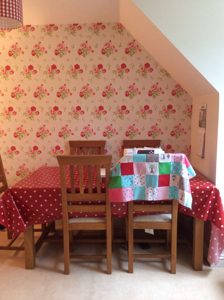 Craft room beginning to take shape. Cath Kidston wallpaper.
