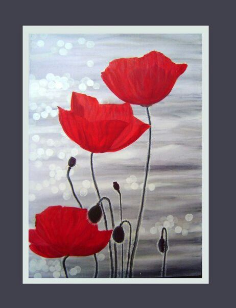 Poppies, 1000x750mm, Acrylic on canvass. Painted by Susan Brett.