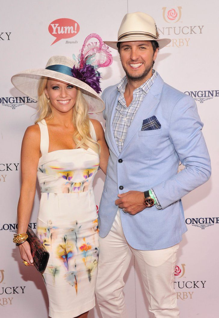 Pin for Later: Hats, Horses, and High Stakes — Stars at the Kentucky Derby!  Luke Bryan and his wife, Caroline Boyer, coordinated their hats in 2013.