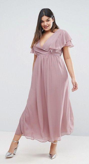 Plus Size Ruffle Chiffon Tea Dress