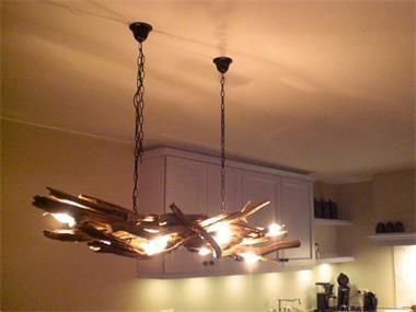 Grote foto Landelijke hanglampen van takken. Huis en Inrichting Woningdecoratie