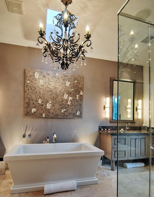 chandelier light in bathroom