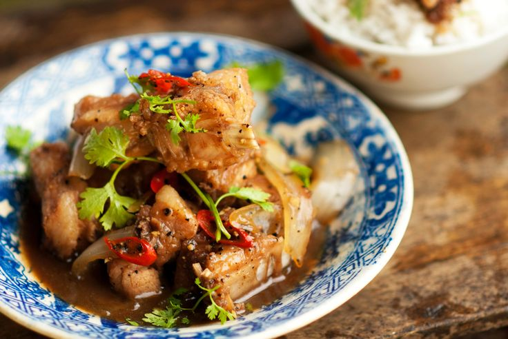 Pork ribs braised in young coconut juice (suon ram man)