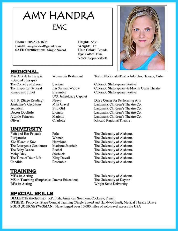 Brilliant Acting Resume Template To Get Inspired Acting