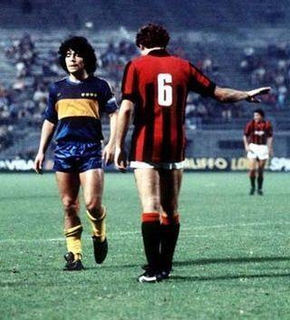 Diego Maradona e Franco Baresi, amistoso Boca x Milan.