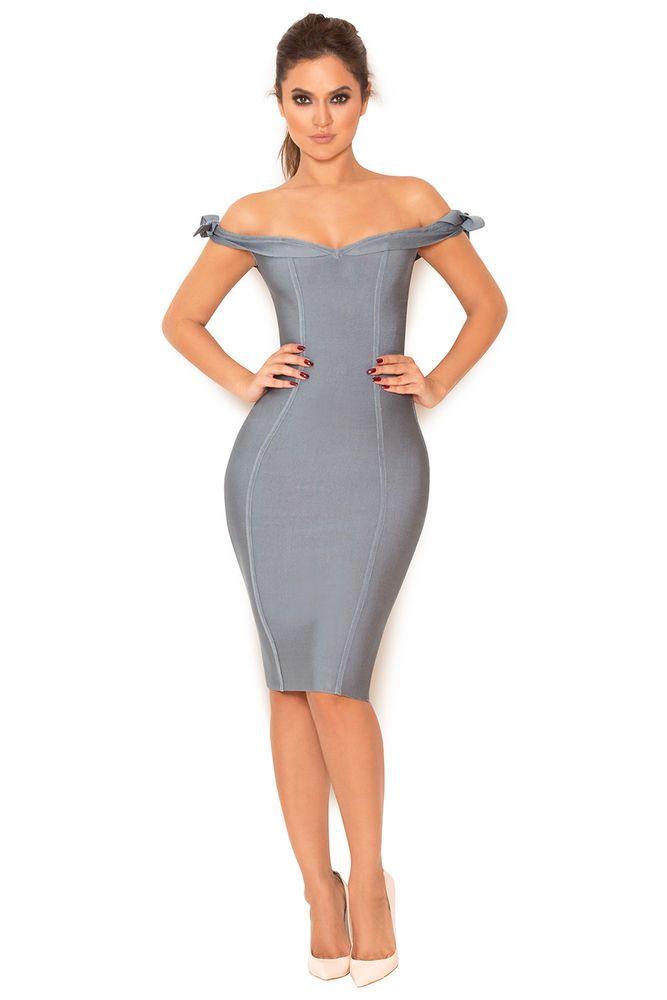 8f3fffa3f547 HOUSE OF CB  Solaine  Slate Grey Off Shoulder Bandage Dress S 8   10 SJ  1260  fashion  clothing  shoes  accessories  womensclothing  dresses (ebay  link)