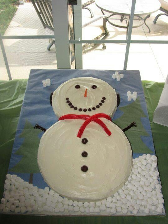 Snowman cake for winter one-derland birthday party! 10 & 8 inch rounds.