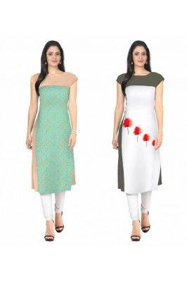 ZIYAA Combo Multi Color Faux Crepe Kurtis for women #womensfashion #designerkurti #