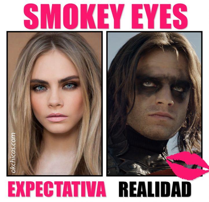 expectativa vs realidad mujeres cuando se maquillan smokey eyes