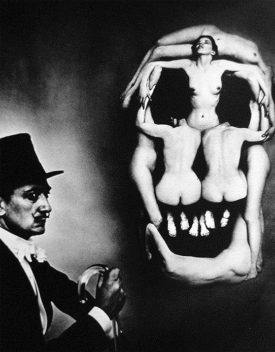 Salvador Dali setting up his 'Dali and the Skull (in Voluptate Mors)', 1951.  Photo by Philippe Halsman.