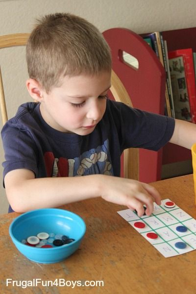 Teach letter identification or letter sounds with alphabet bingo! Could also make this with sight words, or numbers.