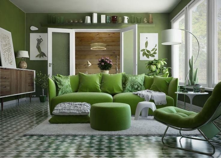 #interior #livingroom #green #greenery #greenery2017 - Modellazione e rendering: Cinema 4D + Vray Post-produzione: Photoshop, Lightroom