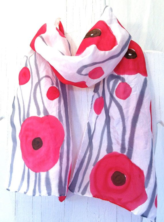 Hand Painted Silk Scarf Handmade scarf Red Silk Scarf
