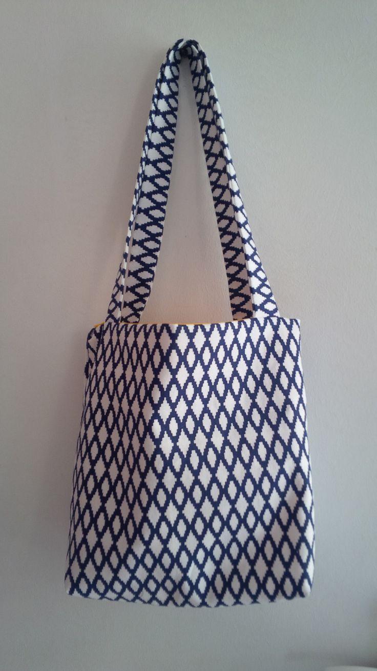 Sac cabas motif graphique bleu et blanc : Autres sacs par miss-cup-of-tea