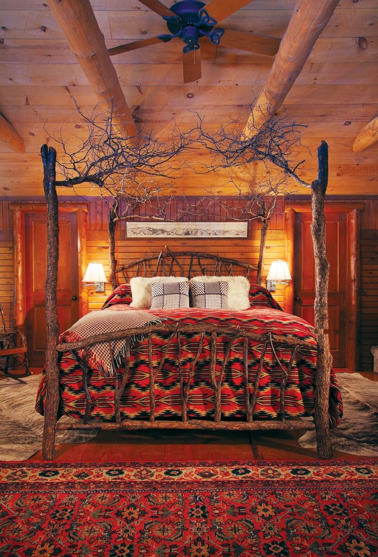 Cabin bedroom fireplace - Lovely Bedroom