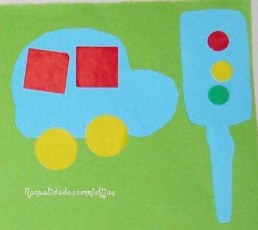 Manualidades con mis hijas: Recortar y pegar. Coche y semáforo