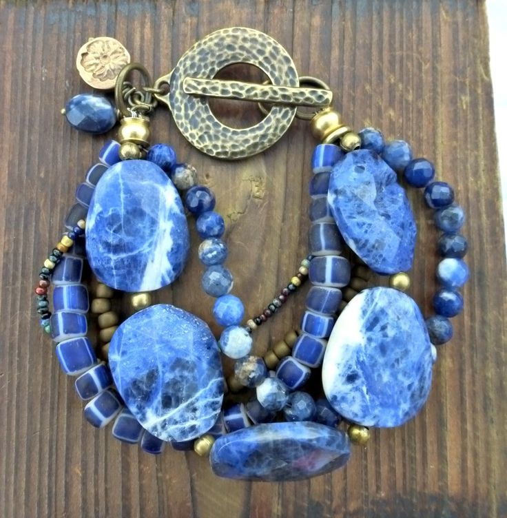 Sodalite gemstone, Indonesian glass, Czech glass and bronze metal bracelet. Chunky bohemian.
