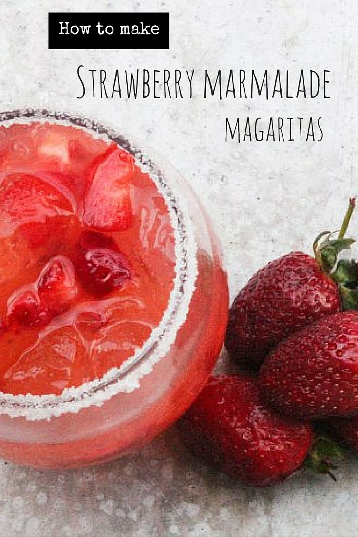 This cocktail combines strawberries with a sweet strawberry marmalade. Using jams in cocktails adds sweetness without having to add simple syrup.
