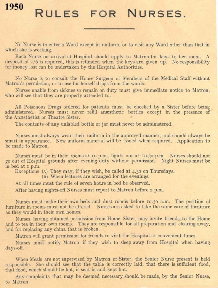 1950 Rules for Nurses