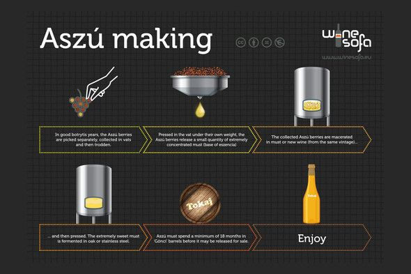Aszú making infoposter - This luscious, amber wine is known throughout the English-speaking world as Tokay.