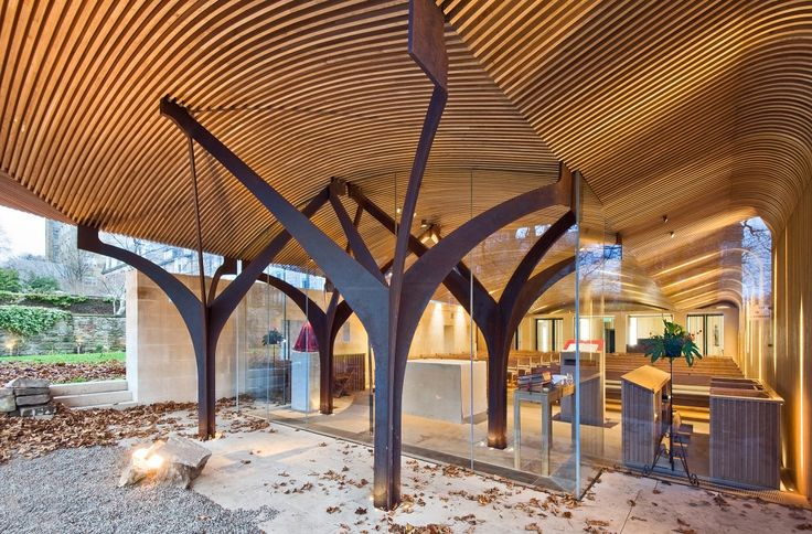 Inside Out and Outside In. Architecture that blurs the line between what is outdoor space and what is indoor space. Chapel of St. Albert the Great / Simpson & Brown