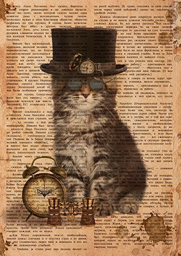Винтажный кот стимпанк  - цифровой файл в формате jpeg, высокое разрешение