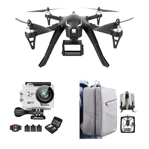 NEW Quadcopter RC Drone BRUSHLESS MOTOR w/ 4K Action Camera & Carrying Bag #Kbrand