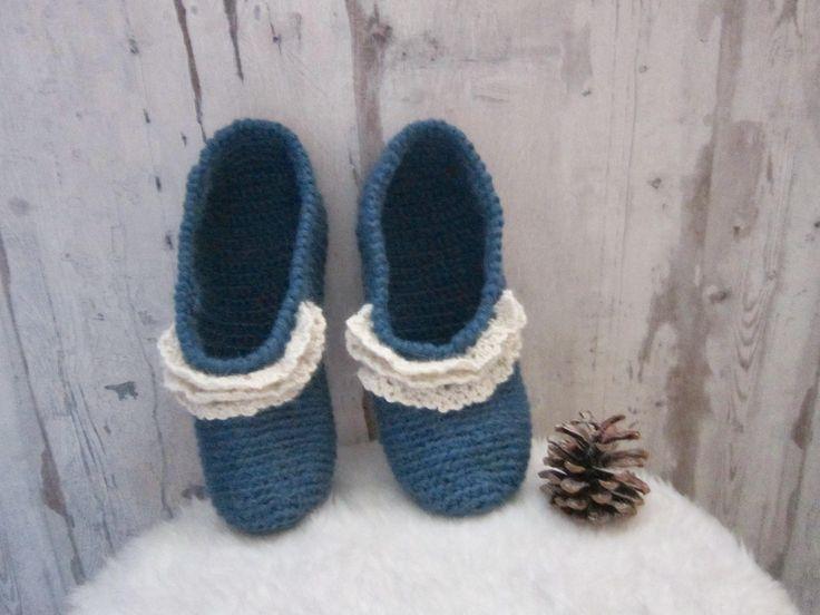 Chaussons pantoufles au crochet femme, bleus, en alpaga, inspirés d'un modèle japonais, volants, taille 37